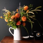 orange dahlias little flower school nicolette camille wall street journal flower arranging with herbs