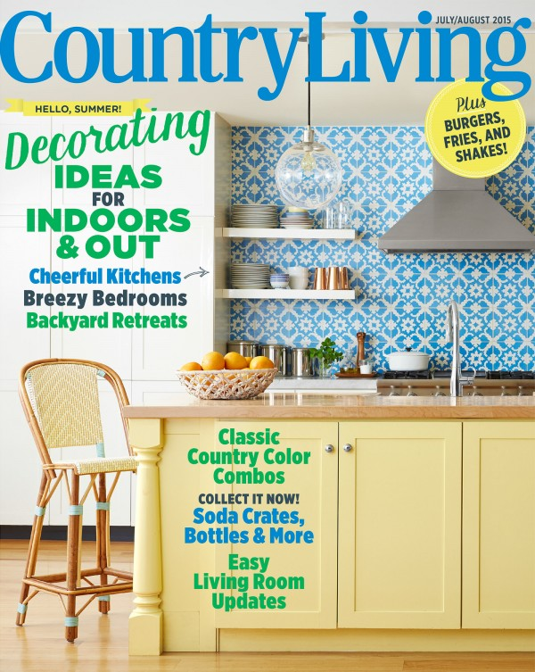 Country Living Magazine July August 2015 cover, Kentucky kitchen, Louisville