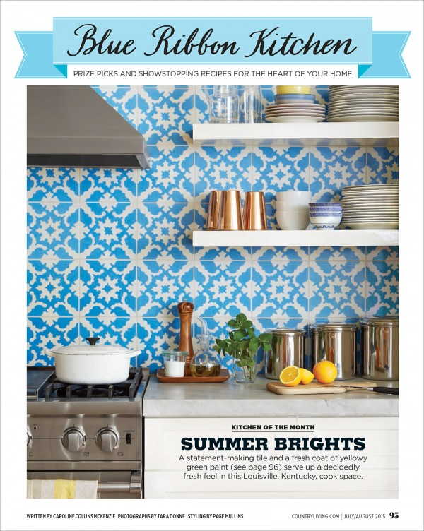 Country Living Magazine July August 2015 , Kentucky kitchen, Louisville